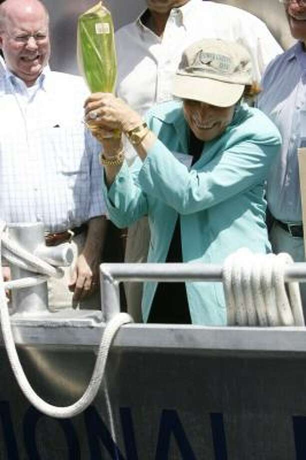 Dr. Sylvia Earle, a National Geographic Explorer in Residence of the National Marine Sanctuary, christens the NOAA research vessel, the RS Manta, in Galveston. For video, go to chron.com Photo: MELISSA PHILLIP, CHRONICLE