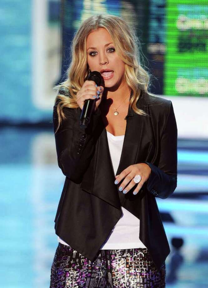 UNIVERSAL CITY, CA - AUGUST 07:  Host Kaley Cuoco speaks onstage during the 2011 Teen Choice Awards held at the Gibson Amphitheatre on August 7, 2011 in Universal City, California. Photo: Kevin Winter, Getty Images / 2011 Getty Images