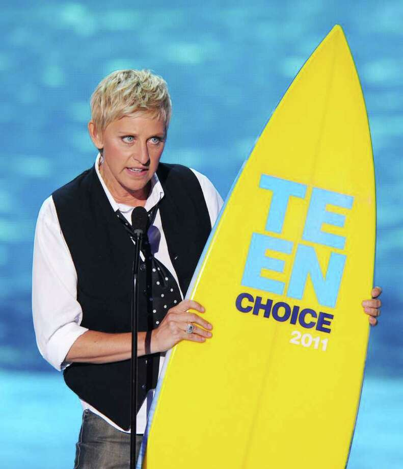 UNIVERSAL CITY, CA - AUGUST 07:  Comedian Ellen DeGeneres accepts the Choice Comedian award onstage during the 2011 Teen Choice Awards held at the Gibson Amphitheatre on August 7, 2011 in Universal City, California. Photo: Kevin Winter, Getty Images / 2011 Getty Images