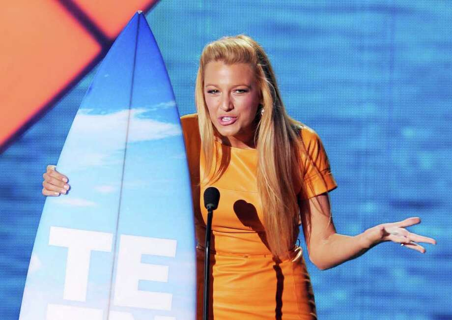 UNIVERSAL CITY, CA - AUGUST 07:  Actress Blake Lively accepts the Choice TV Drama Actress award onstage during the 2011 Teen Choice Awards held at the Gibson Amphitheatre on August 7, 2011 in Universal City, California. Photo: Kevin Winter, Getty Images / 2011 Getty Images