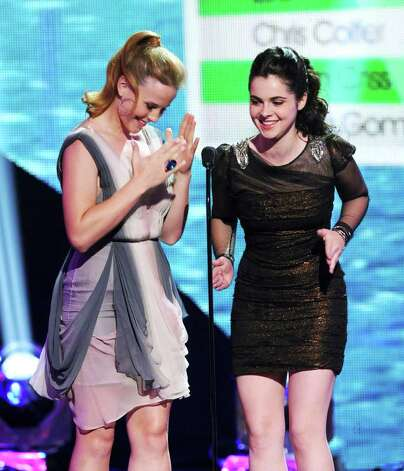 Actresses Katie LeClerc (L) and Vanessa Marano speak onstage during the 2011 Teen Choice Awards held at the Gibson Amphitheatre in Universal City, California. Photo: Kevin Winter, Getty Images / 2011 Getty Images