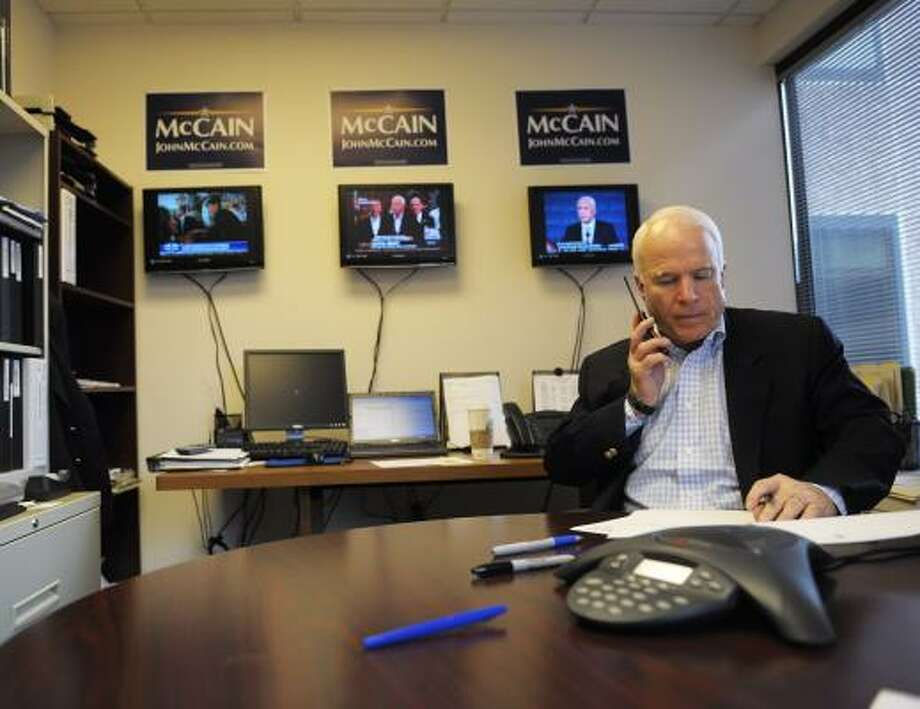 After Friday's debate, Sen. John McCain chose to return to his campaign headquarters in Arlington, Va., to make calls. Photo: MANDEL NGAN, AFP/GETTY IMAGES