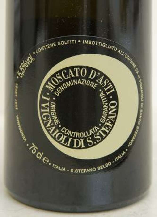 This San Stefano Moscato d'Asti boasts a fresh floral perfume. Photo: STEVE UECKERT PHOTOS:, CHRONICLE