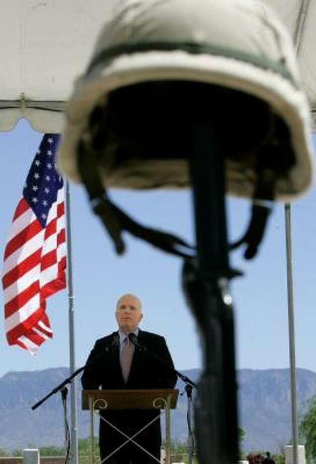 Sen. John McCain speaks at the New Mexico Veterans Memorial on Monday in Albuquerque. Photo: JEFF CHIU, ASSOCIATED PRESS