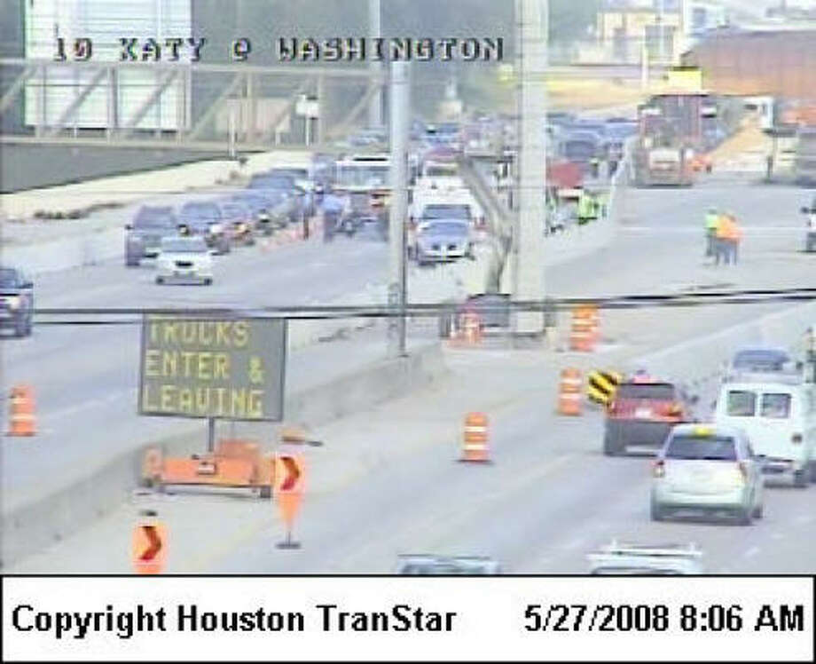 Inbound traffic on Interstate 10 West has been slowed by a three-vehicle accident that included an overturned vehicle near the Washington exit, west of downtown. Photo: Houston TranStar