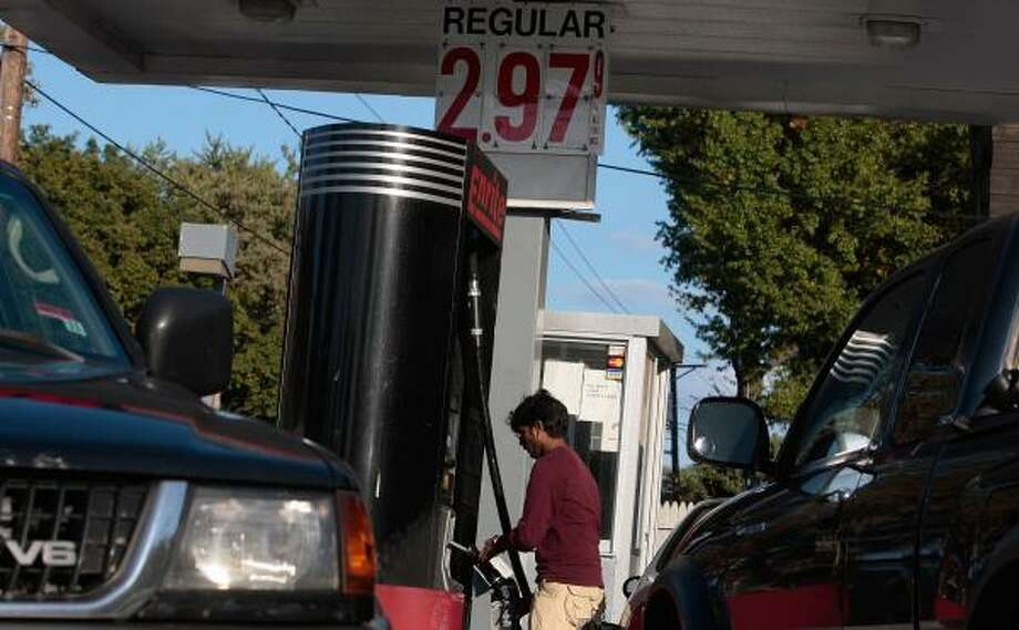 A Teaneck, N.J., station offers gasoline at $2.97 a gallon, one of many beginning to sell for under $3. Photo: CHRIS HONDROS, GETTY IMAGES