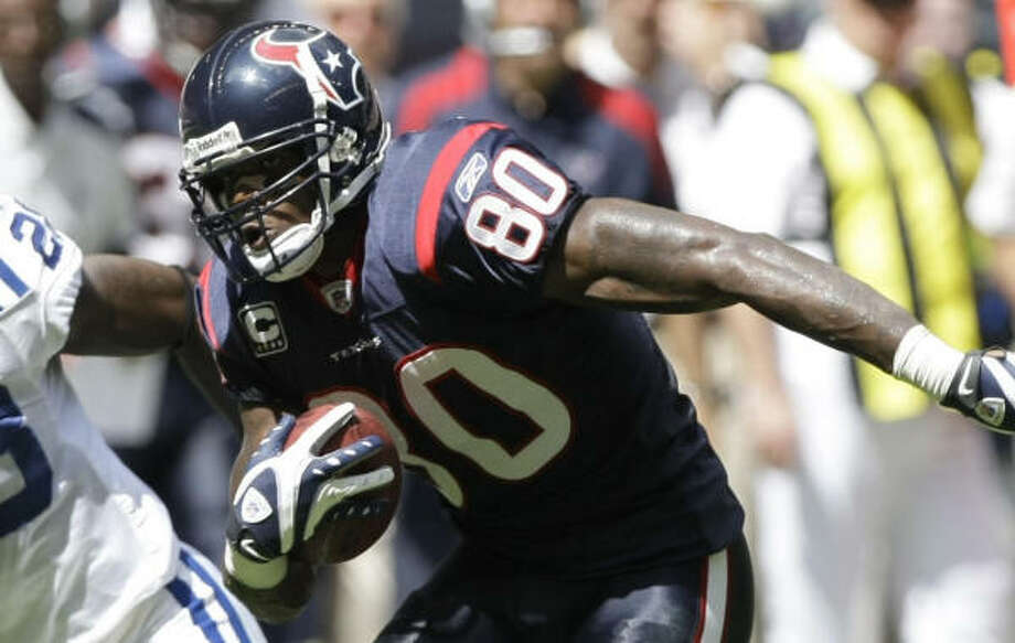 Andre Johnson and the Texans will look to get their second win of the season against the winless Lions. Photo: Brett Coomer, Chronicle
