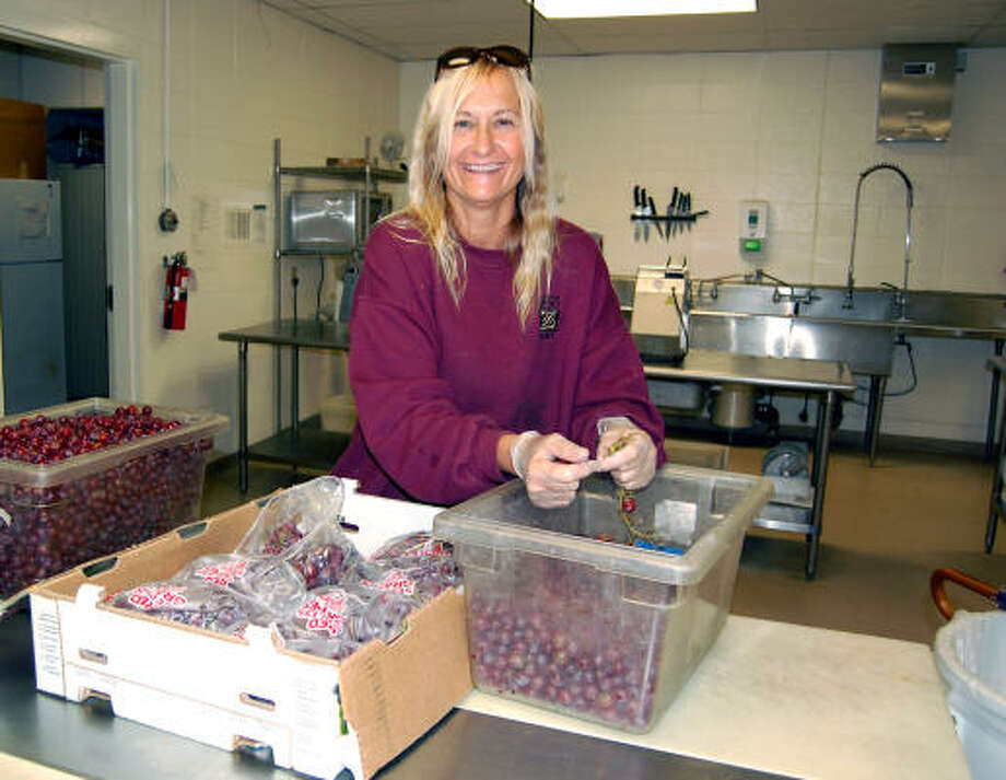DINNER TIME: Phyllis Mays prepares grapes at the Houston Zoo commissary. Photo: Wendy Rudnicki
