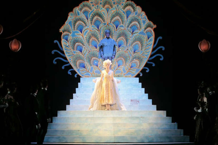 Melody Herrera is shown in this scene from Act 2 of Stanton Welch's Cinderella. This the heroine's Grand Entrance to the Ball. The sets and costumes are by Kristian Fredrikson. Photo: Amitava Sarkar