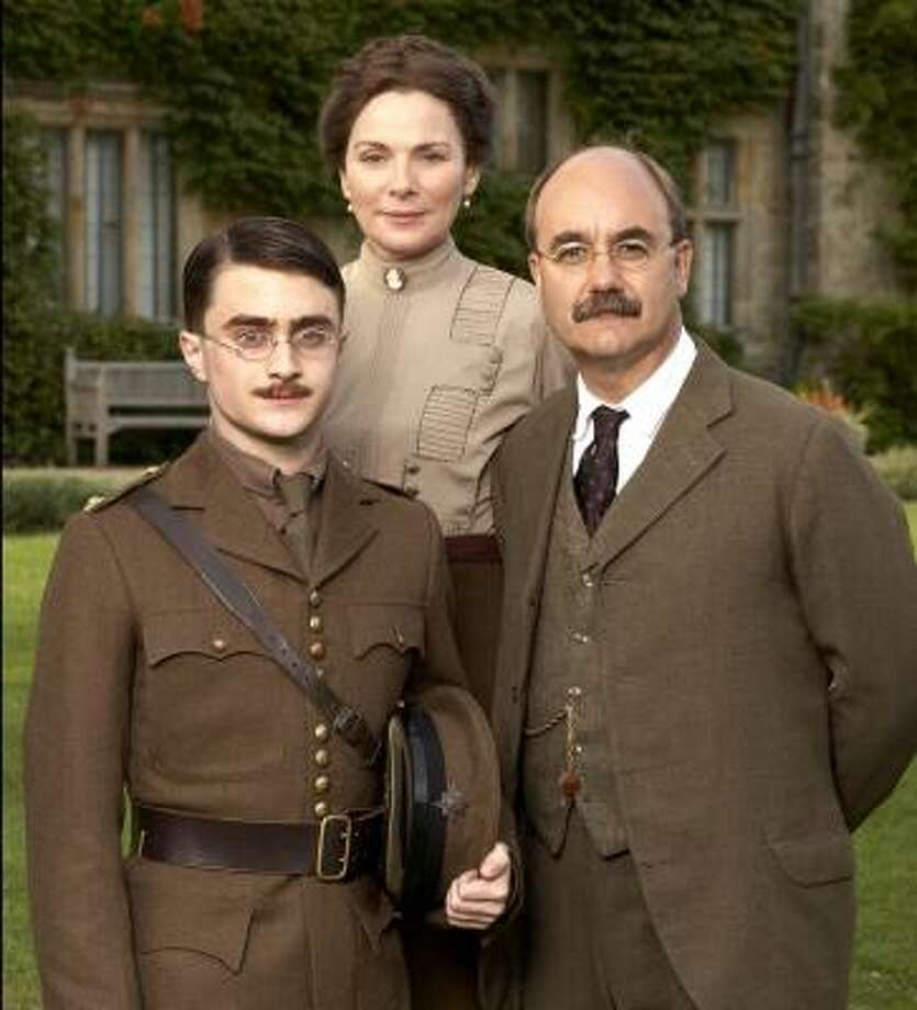 "In My Boy Jack, Daniel Radcliffe stars as John ""Jack"" Kipling, eager to escape the shadow of his famous father, Rudyard (David Haig, right). Kim Cattrall plays his mother, Carrie. Photo: PATRICK REDMOND, PBS"