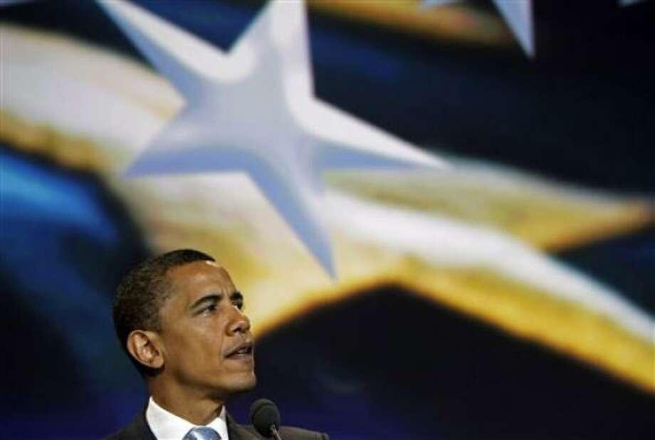 El candidato presidencial demócrata Barack Obama habla en la Conferencia de Alcaldes de Estados Unidos en Miami el sábado, 21 de junio del 2008. (AP Photo/Alex Brandon) Photo: Alex Brandon, AP