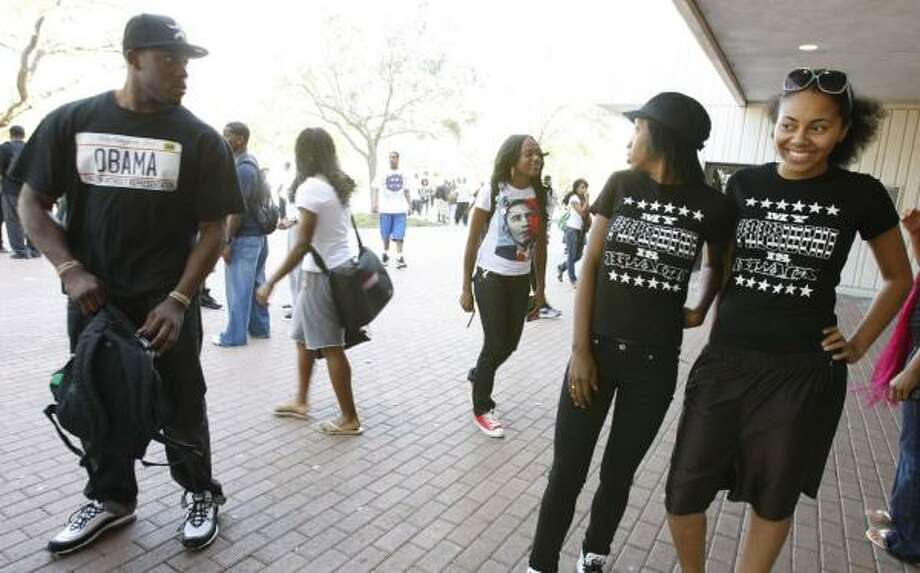 Texas Southern University students Jason Smith, left, Chanell Pruitt, Jourdan Johnson and Jazmyn Sanders wear Barack Obama T-shirts on campus Wednesday. The campus was abuzz over Obama's victory in the presidential election Tuesday. Photo: JULIO CORTEZ, CHRONICLE