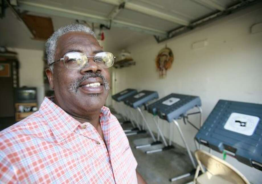 "John Martin has had a polling location in his south Houston garage for 15 years. ""We had 32 voters the first time,"" he says. Photo: NATHAN LINDSTROM, FOR THE CHRONICLE"