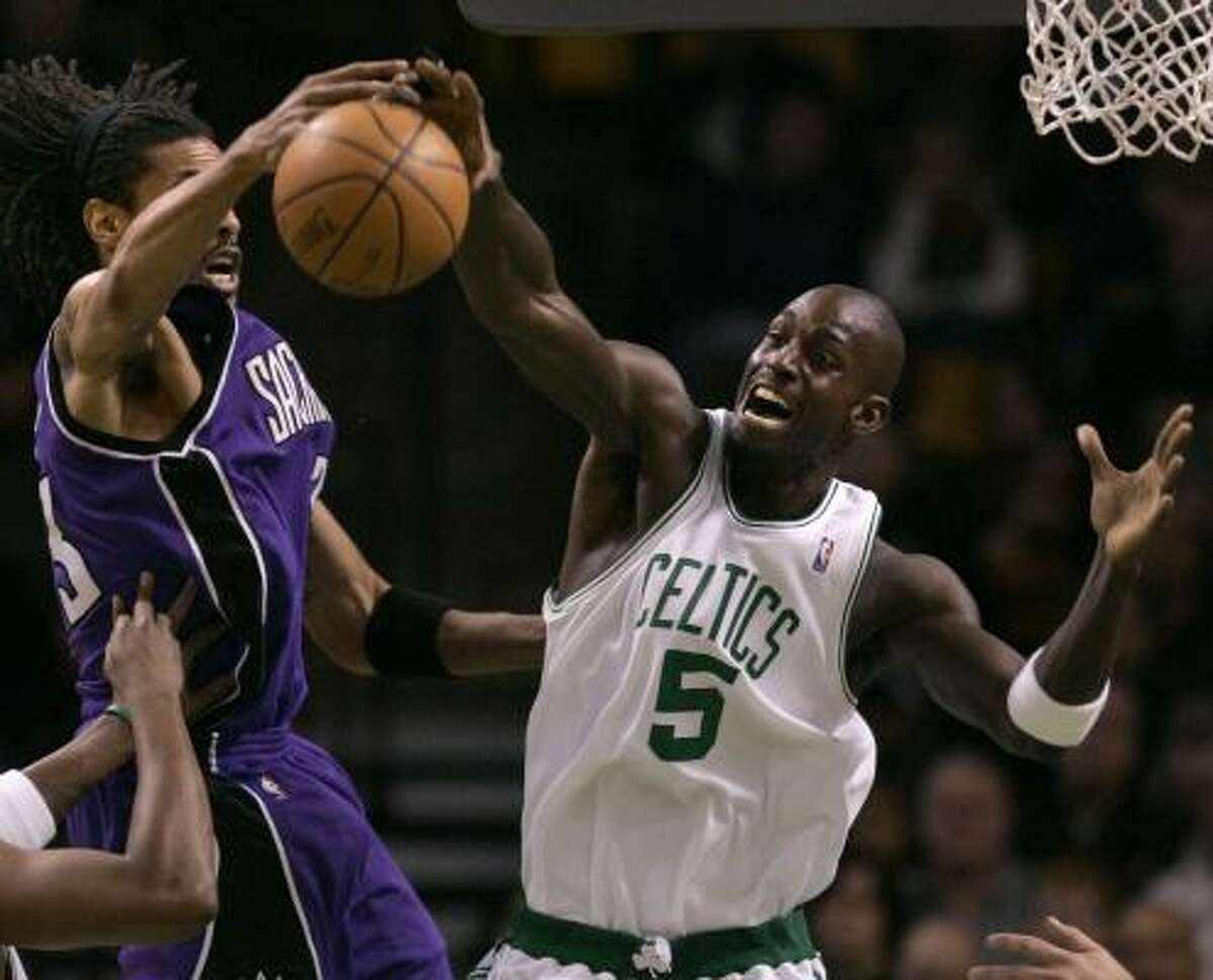 Kevin Garnett (5) has given the Celtics a defensive presence they haven't had in a while.
