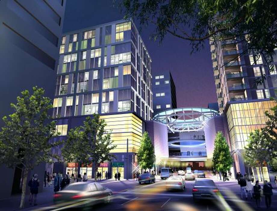 Here is a rendering of The Houston Pavilions at night. The complex is under construction in downtown Houston. Photo: Courtesy Of Denton And Jones