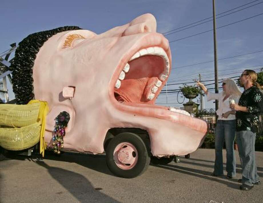 She's affectionately called Brunhilde, but the official title of Houston Grand Opera's first entry in the annual Art Car Parade is Opera to Go, named after the HGO's touring arm. The massive head with her mouth open in song was inspired by Wagner's famous leader of the Valkyries. Photo: CRAIG H. HARTLEY, For The Chronicle