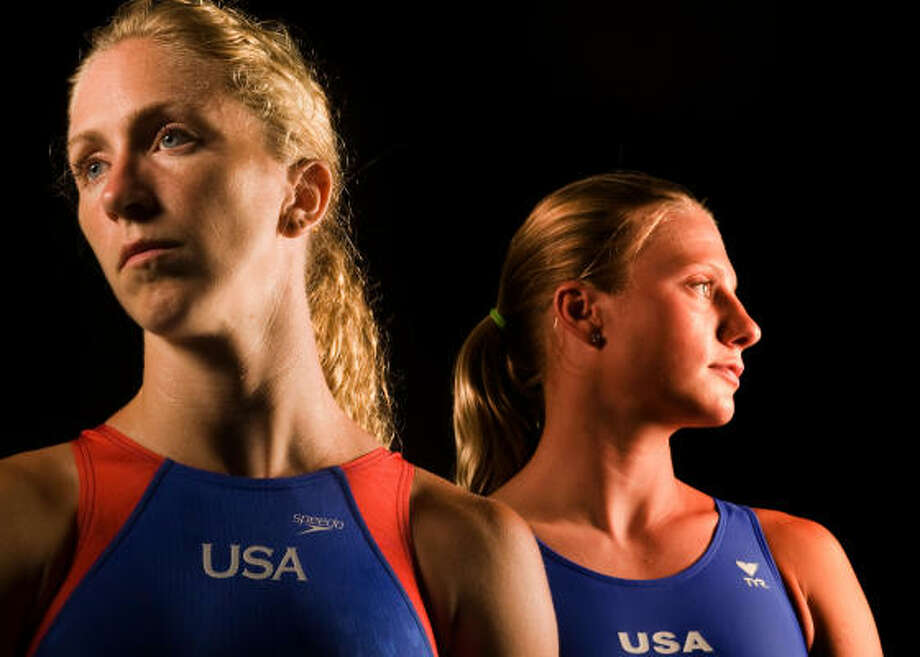 Nancilea Underwood Foster (right, with teammate Laura Wilkinson) is making her Olympic debut. Photo: Smiley N. Pool, Chronicle