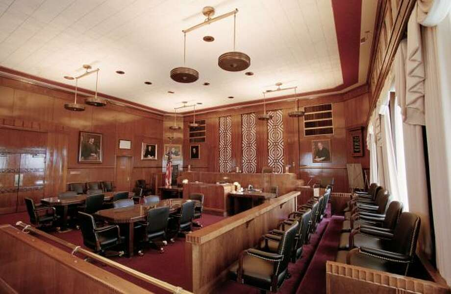 U.S. District Judge Samuel Kent was master of Galveston's historic federal courtroom, shown here in 2002 after a renovation. Photo: D. Fahleson, CHRONICLE FILE