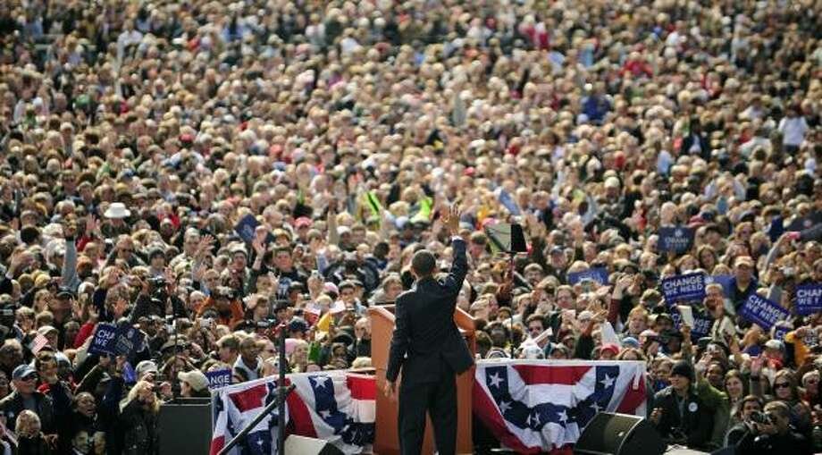 Barack Obama waves at the end of a rally in Indianapolis on Thursday. He plans to campaign Saturday in Nevada after visiting his ill grandmother in Hawaii. Photo: EMMANUEL DUNAND, AFP/GETTY IMAGES