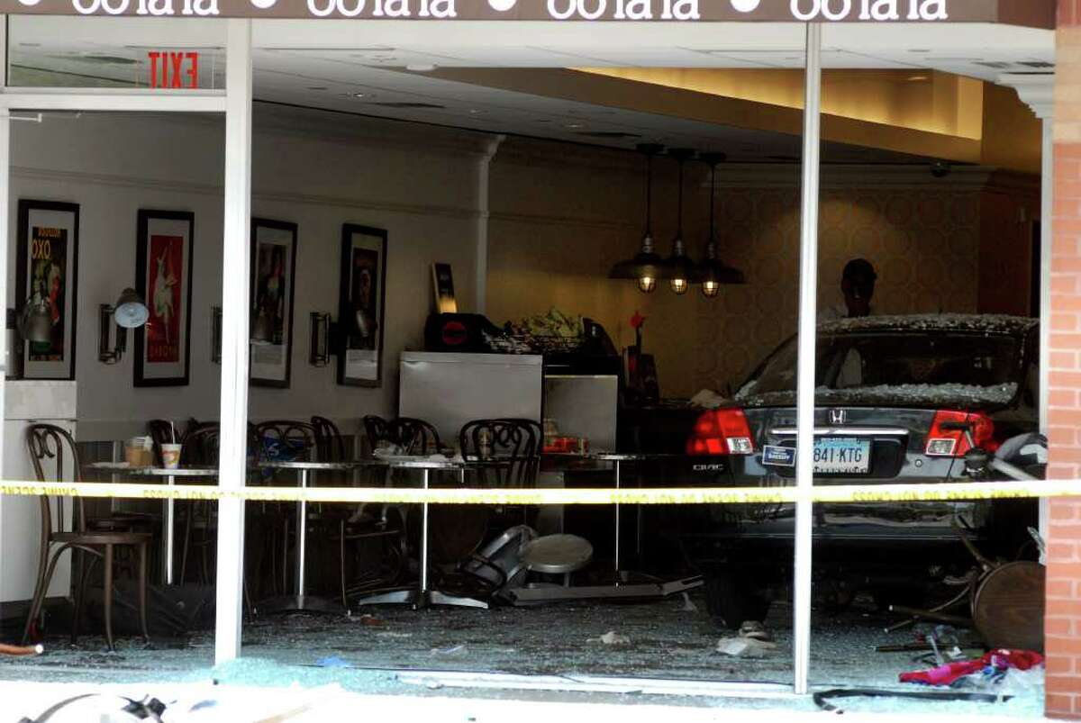 A elderly man drove into Cafe Oo La La in the Ridgeway Shopping Center in Stamford, Conn. injuring 9 people on Monday August 8, 2011.