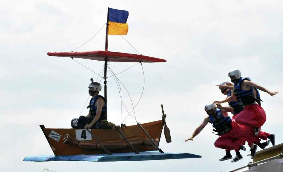 "The ""Cossacks"" team competes during Red Bull Flugtag 2010 in Kiev on June 19, 2010. Photo: SERGEI SUPINSKY, AFP/Getty Images / 2010 AFP"