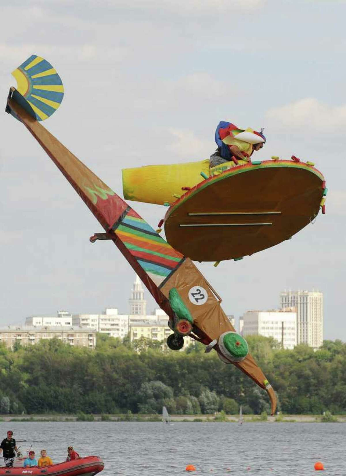 """The """"Mama Mexico"""" team competes during the Red Bull Flugtag event in Moscow on August 7, 2011."""