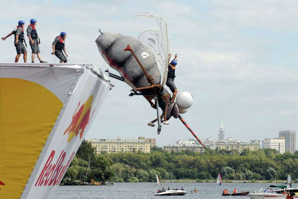 Russian competitors take part at the Red Bull Flugtag event in Moscow on August 7, 2011.