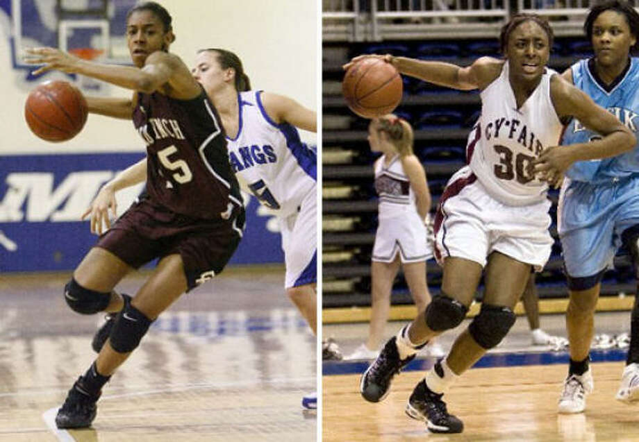 Cinco Ranch's Briana Gilbreath, left, and Cy-Fair's Nneka Ogwumike are on the team for the West. Photo: Chronicle File