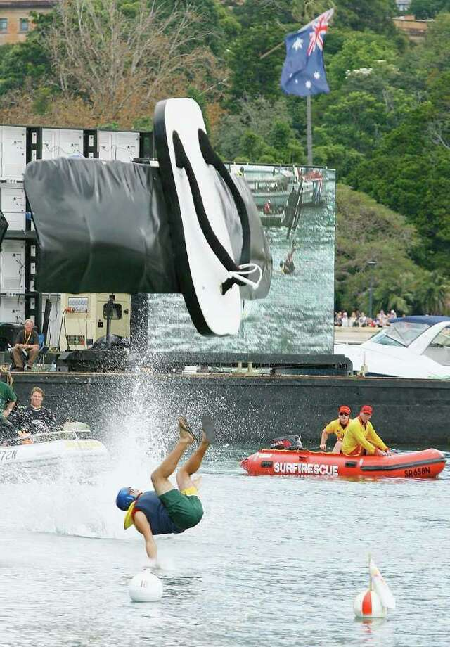 "Team ""Double Plugger"" crash lands during the Red Bull Flugtag on April 6, 2008 in Sydney. Photo: Mark Nolan, Getty Images / 2008 Getty Images"
