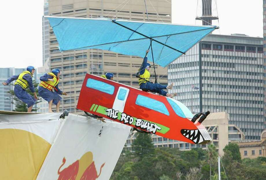 "Team ""Sam Becomes a Man"" launches its pilot from the ramp during the Red Bull Flugtag on April 6, 2008 in Sydney. Photo: Mark Nolan, Getty Images / 2008 Getty Images"