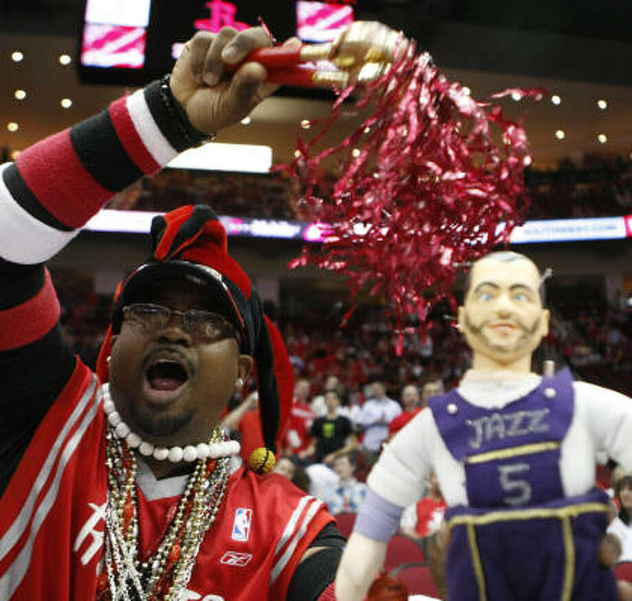 Fan Paul Daltoe's voodoo doll did not work on the Jazz in Game 2. But do you want to see something really scary? Look at EnergySolutions Arena, where the Jazz were an NBA-best 37-4 this season. Photo: Nick De La Torre, Chronicle