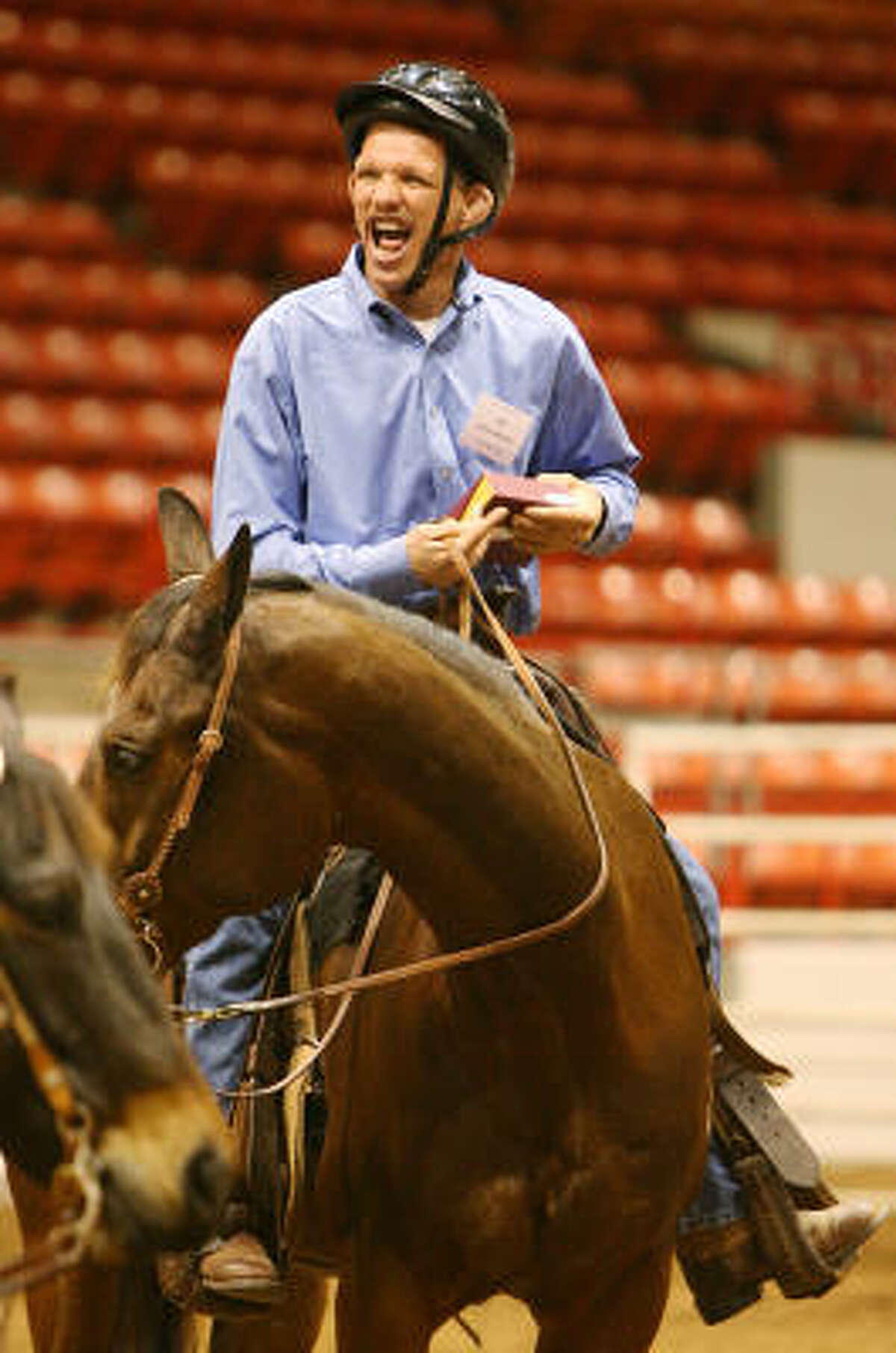 Kevin Johnston, 44, of the Richmond State School, has competed for 12 years at the Houston Livestock Show and Rodeo's Top Hands Horse Show, but he scored his first first-place win on Tuesday.