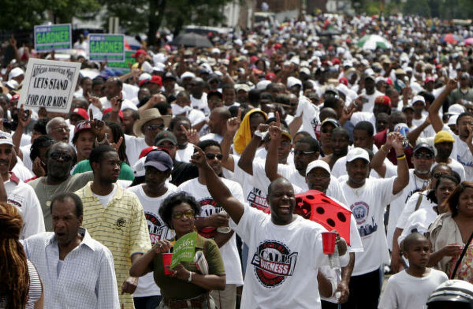 Organizers said that about 50,000 marchers took to the streets in St. Louis on Sunday. Photo: Jeff Roberson, Associated Press