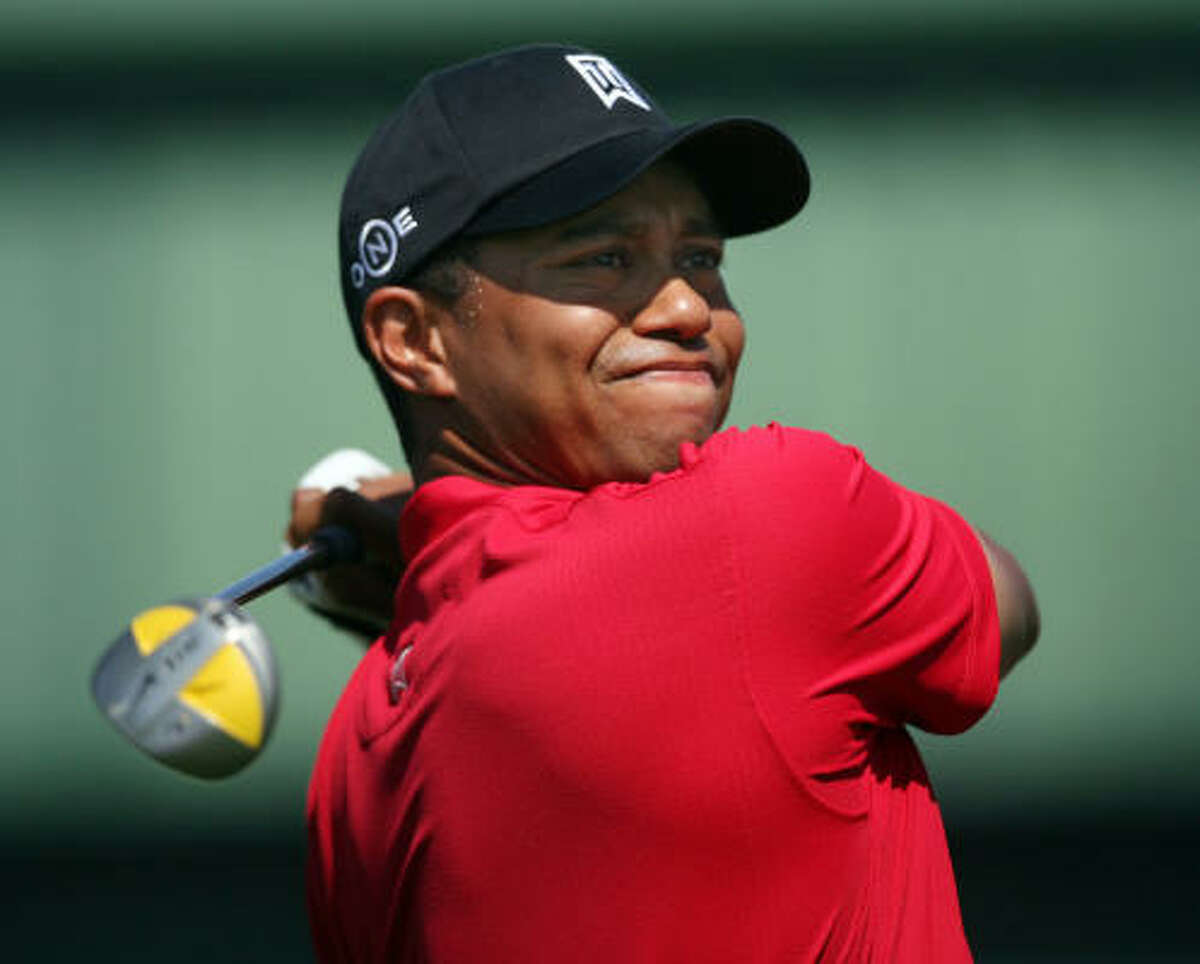 Tiger Woods watches a drive during the final round of the Arnold Palmer Invitational.