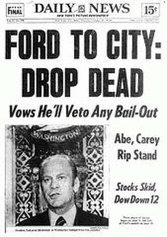Front page of the New York Daily News of Oct. 30, 1975, the day after President Ford vowed to veto any bill that would bail out New York City.  Ford never said it literally, but it captured the president's message. Photo: NYDN
