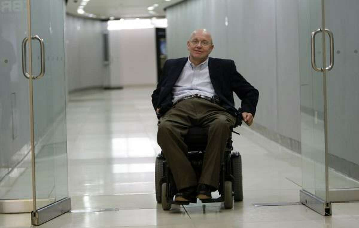 Steven Gerdes, a Houston attorney who relies on a wheelchair, uses the underground tunnel system near his offices downtown.
