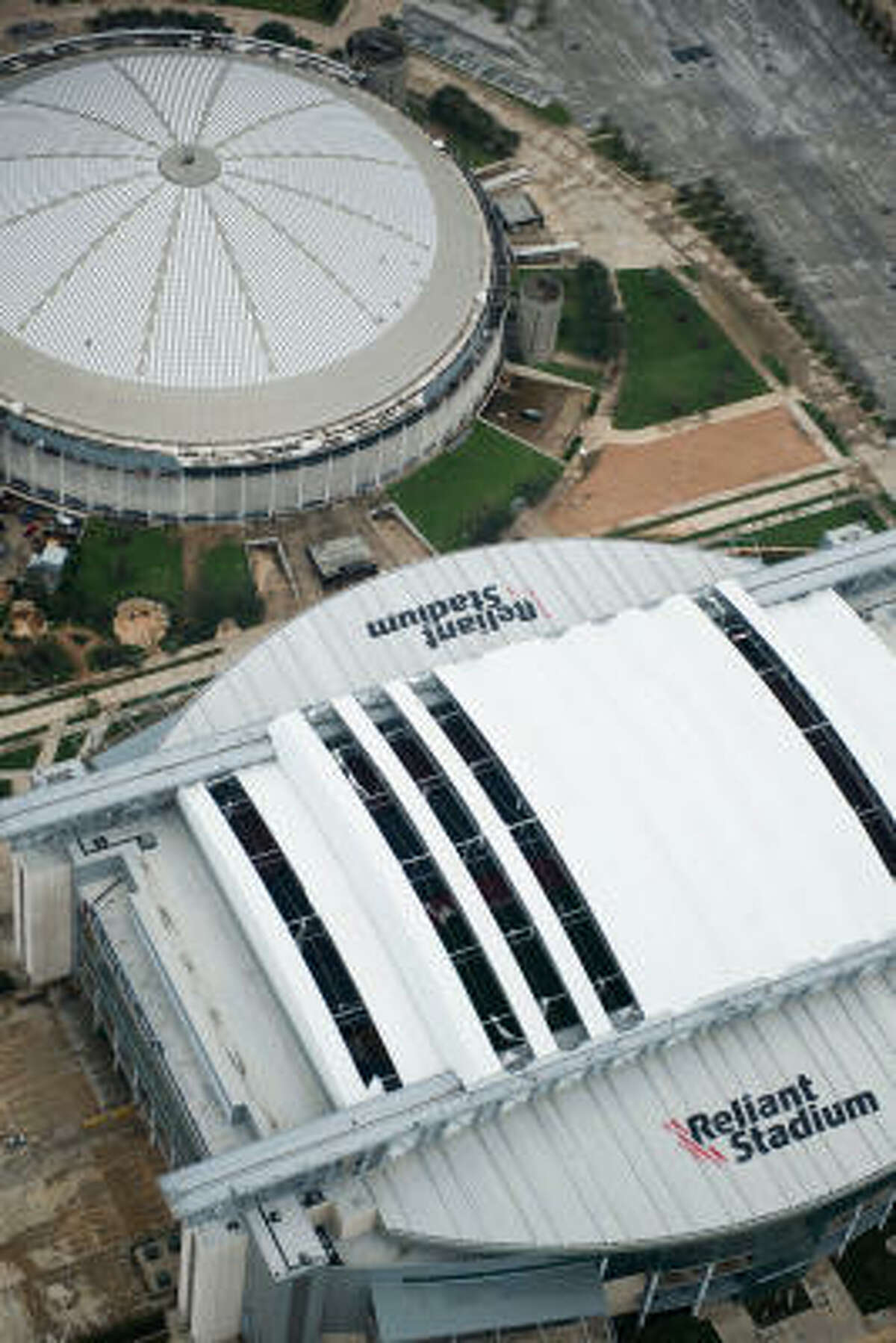 Five Reliant Stadium roof panels were damaged during Ike.