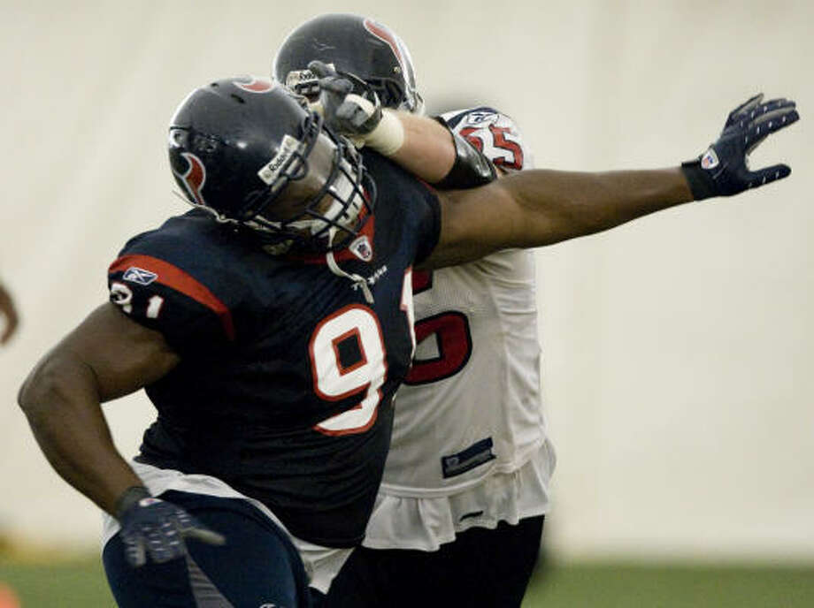 Houston defensive tackle Amobi Okoye (91) was the first Texans player drafted on Rick Smith's watch. He will start against the Pittsburgh Steelers on Sept. 7. Photo: Brett Coomer, Houston Chronicle