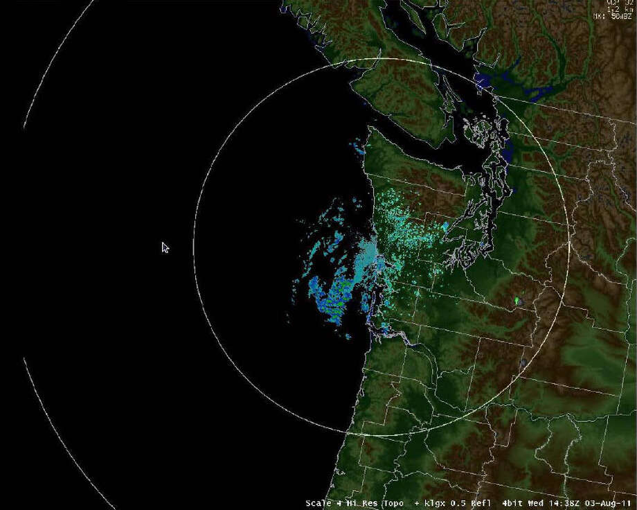 One of the first reflectivity images from the new Langley Hill NEXRAD serving coastal Washington State, which is being calibrated and tested during the month of August. Photo: National Oceanic And Atmospheric Administration / National Oceanic and Atmospheric Administration