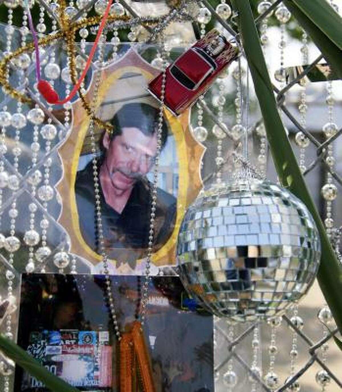 A tribute to Tom Jones hangs outside the Art Car Museum.