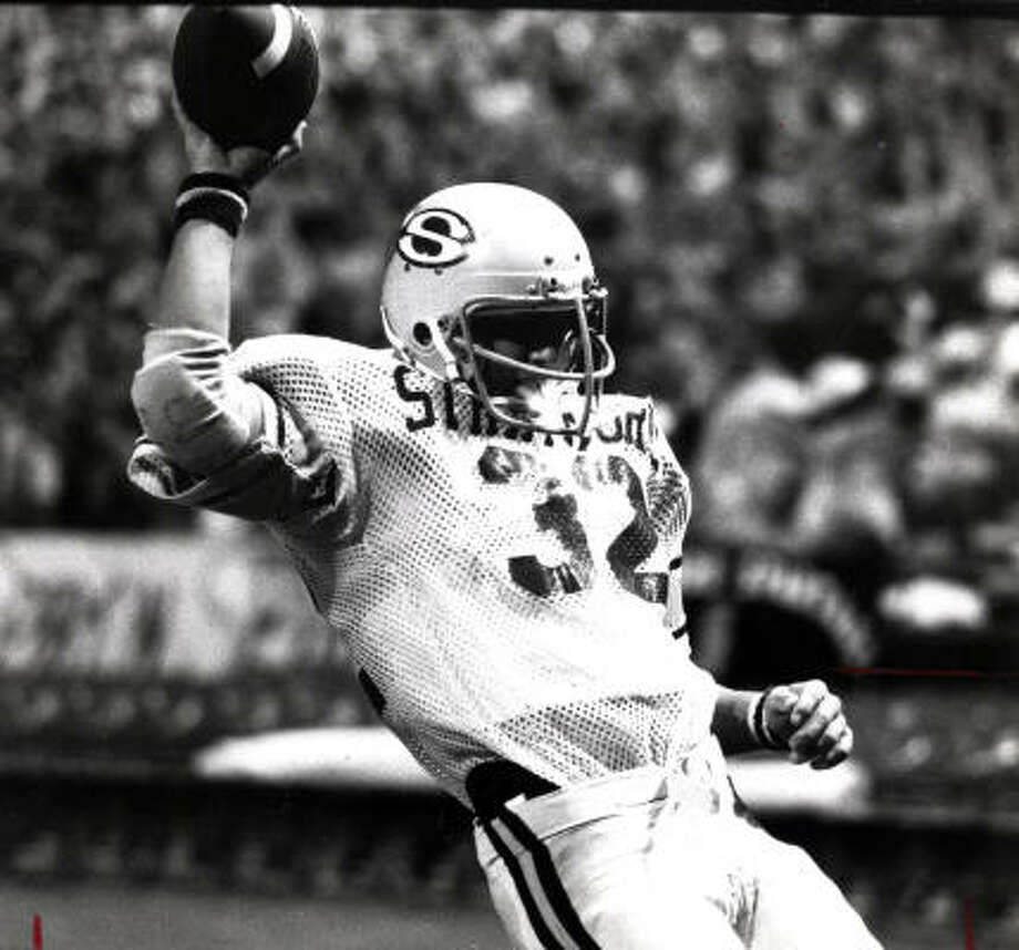 Running back Craig James, who set a state record with 2,411 rushing yards in 1978, thinks his relative lack of success in the NFL has kept his Stratford team from getting its due for a 15-0 season in which it beat the schools that had won the three previous state titles. Photo: Houston Chronicle Library