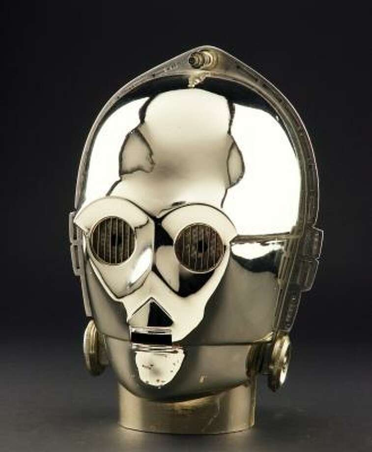 A C3PO head worn in Star Wars Episode VI: Return of the Jedi is part of Profiles in History's Hollywood auction. Photo: PROFILES IN HISTORY, ASSOCIATED PRESS