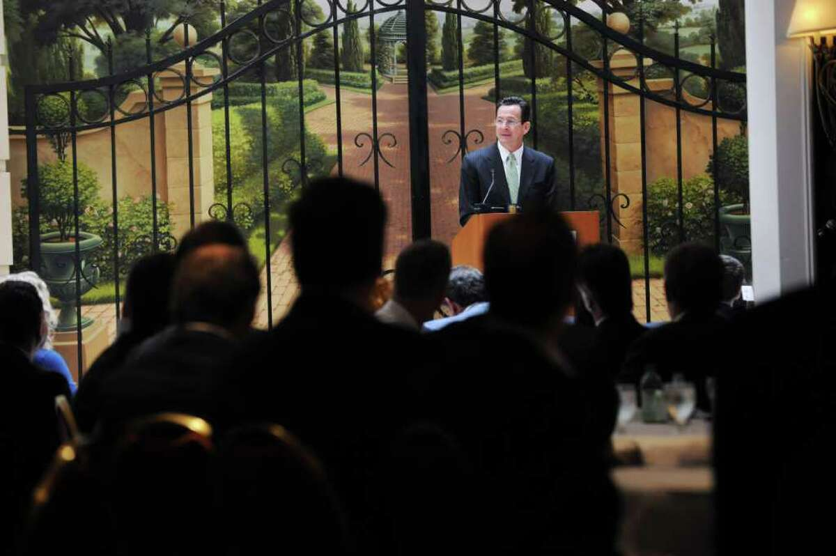 Gov. Dannel P. Malloy speaks at a luncheon luncheon co-hosted by the Real Estate Finance Association of Connecticut and the Building Owners and Managers Association of Southern Connecticut at the Stamford Marriott in Stamford, Conn. on Wednesday May 11, 2011.