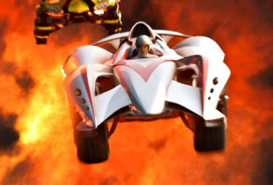 Emile Hirsch as Speed Racer driving the Mach 6 in a scene from Speed Racer. Photo: Warner Bros.