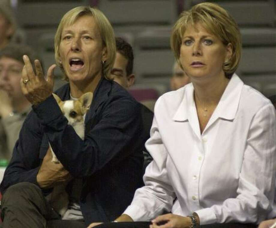 Nancy Lieberman (shown coaching the Detroit Shock in 2000 after Martina Navratilova handled the ceremonial jump ball) said her comeback will last just one game. Photo: PAUL WARNER, AP