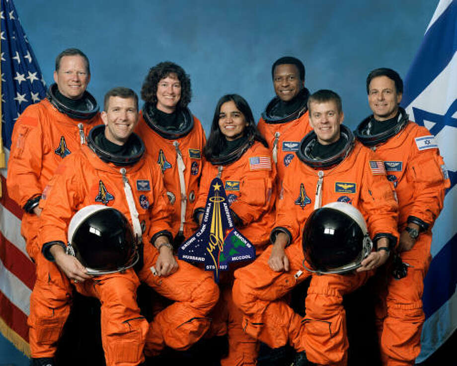 This undated file photo released by NASA shows STS-107 crew members in their group photo. Space Shuttle Columbia crew, left to right, front row, Rick Husband, Kalpana Chawla, William McCool, back row, David Brown, Laurel Clark, Michael Anderson and Israeli astronaut Ilan Ramon. Photo: AP