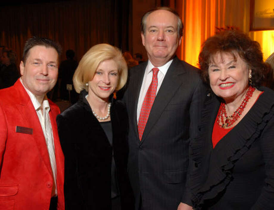 Social Book editor and publisher Scott Evans, left, joined Houston Treasures honorees Ann and John Bookout and Houston Treasures founder Warner Roberts, right, at the Social Book event. Photo: Dave Rossman, For The Chronicle