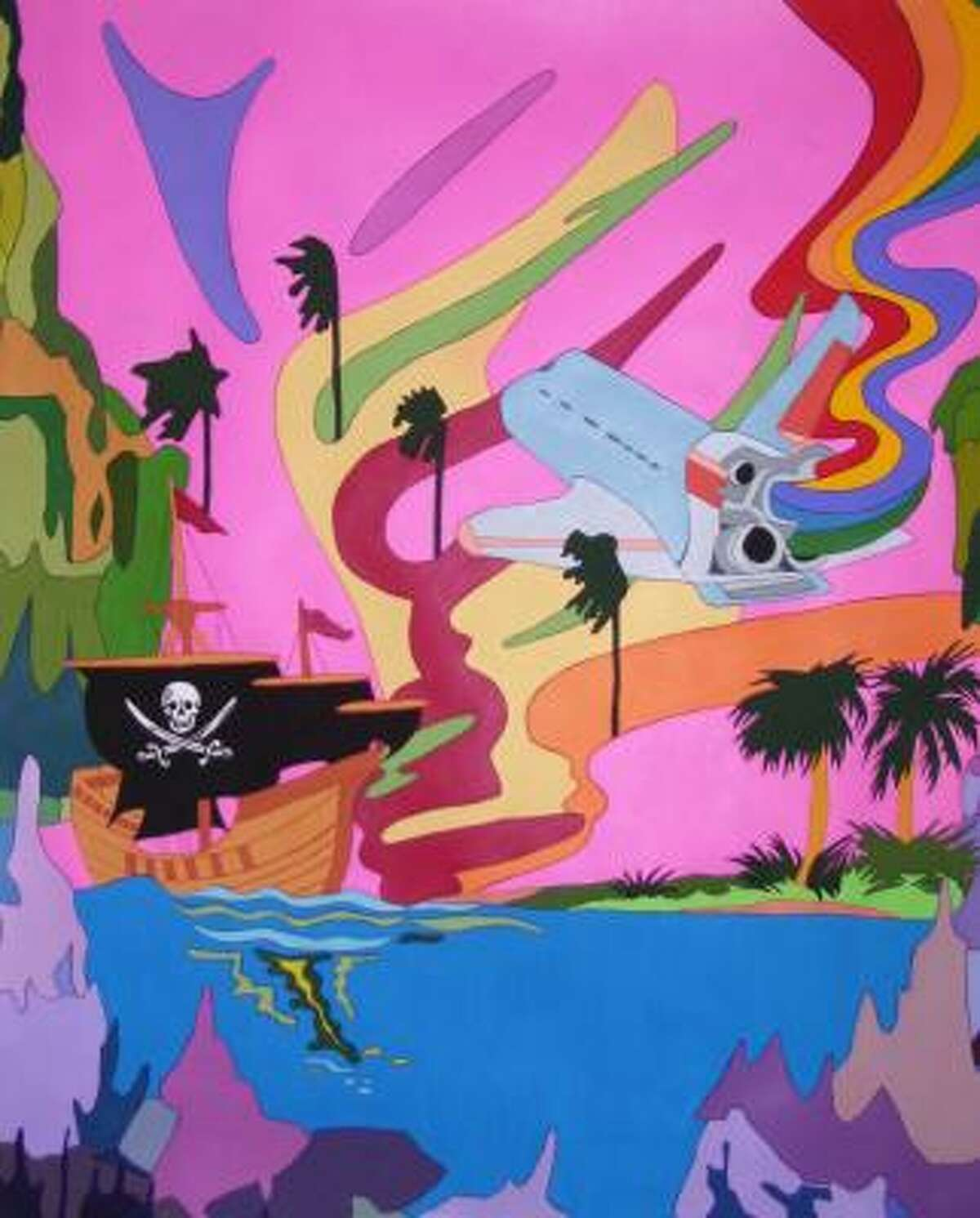 Mindy Kober's colorful gouaches, such as Florida, are inspired by images on the 50 States Quarters.