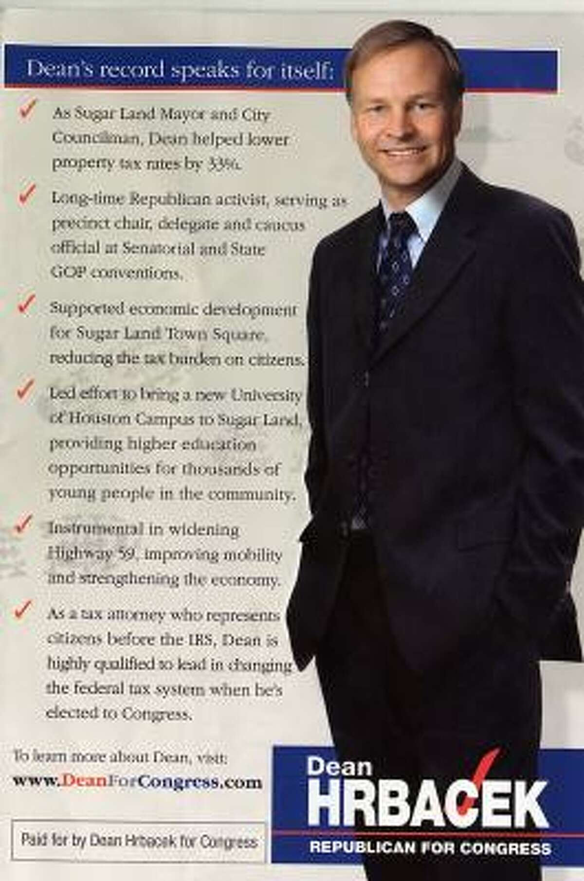 This image of U.S. House candidate and former Sugar Land mayor Dean Hrbacek is actually his head on another man's body.