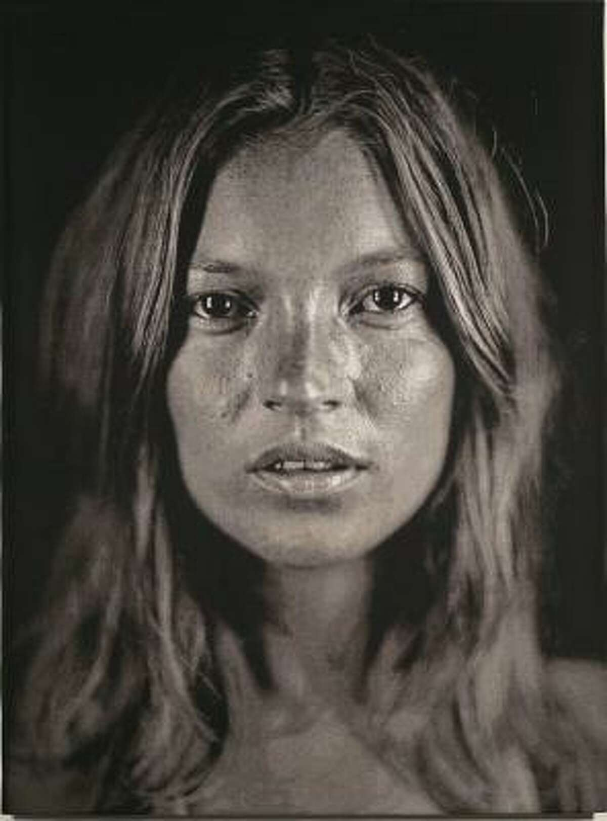 Chuck Close's revealing photo of model Kate Moss was printed using digital weaving techniques to create a jacquard tapestry made up of 17,800 threads.